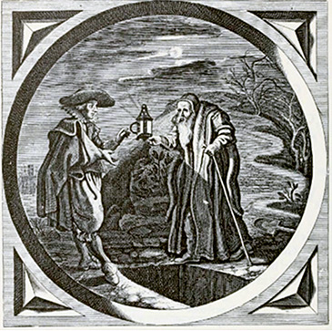 "Jacob Cat's engraving (titled ""Lampado Trado"") shows John Dee passing the lamp of Rosicrucian light to Francis Bacon over an open grave"